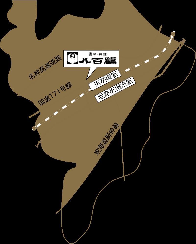 八百鶴の配達エリアマップ